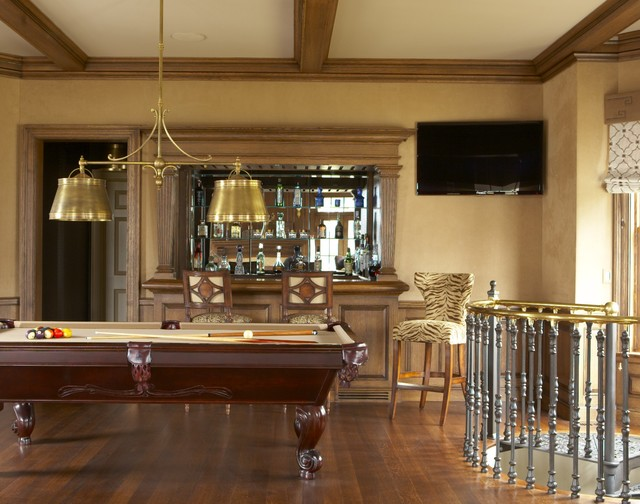 Inspiration For A Large Timeless Open Concept Medium Tone Wood Floor And  Brown Floor Game Room