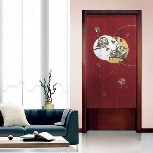 A Happy Owls Family Japanese Door Curtain U0027Norenu0027 Traditional Family And