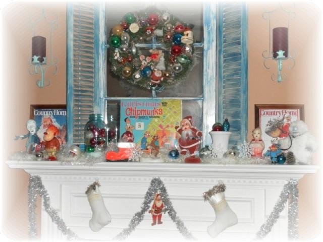 Vintage Christmas Mantel Decorations : A vintage kitschy christmas mantle mantel