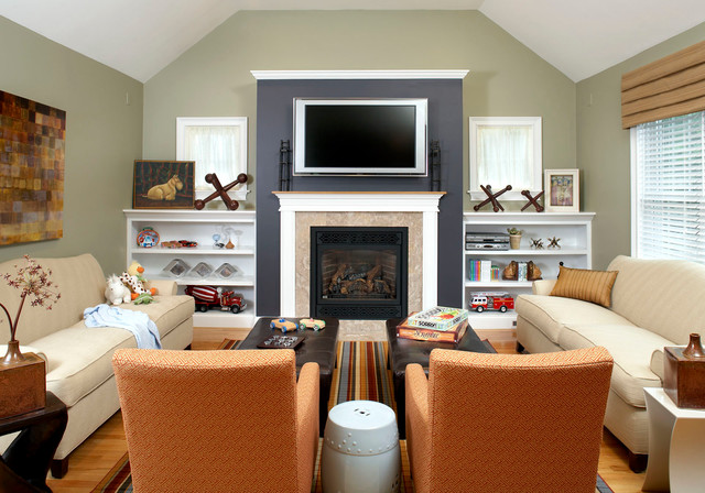 Inspiration For A Timeless Um Tone Wood Floor Family Room Remodel In Boston With Green Walls