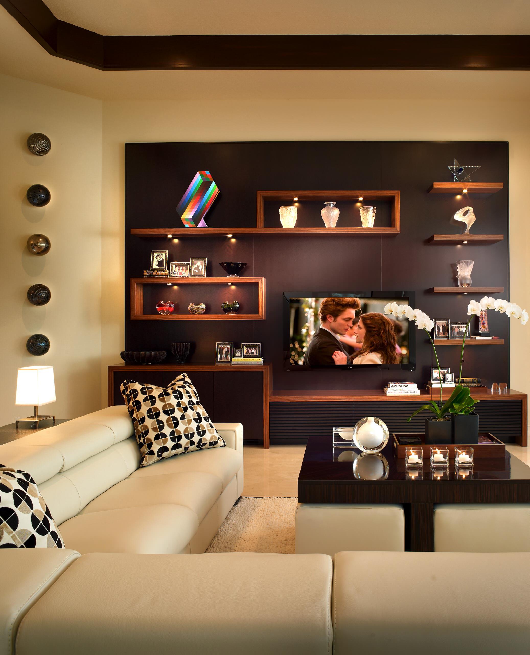 Floating Shelves Around Tv Contemporary Houzz
