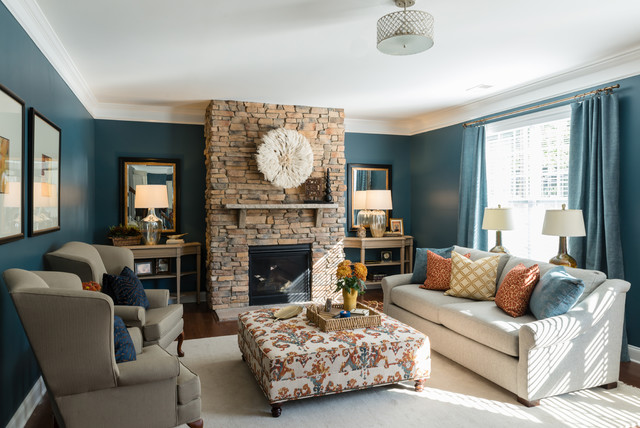 African Inspired Living - Transitional - Family Room ...
