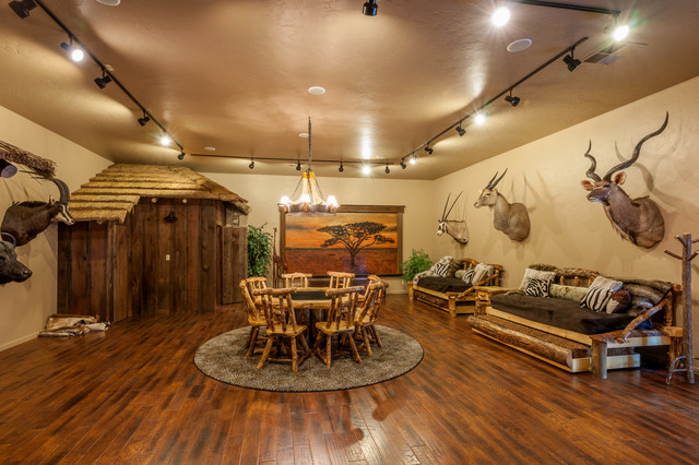 African safari game room hunting fishing trophy room for Trophy room design
