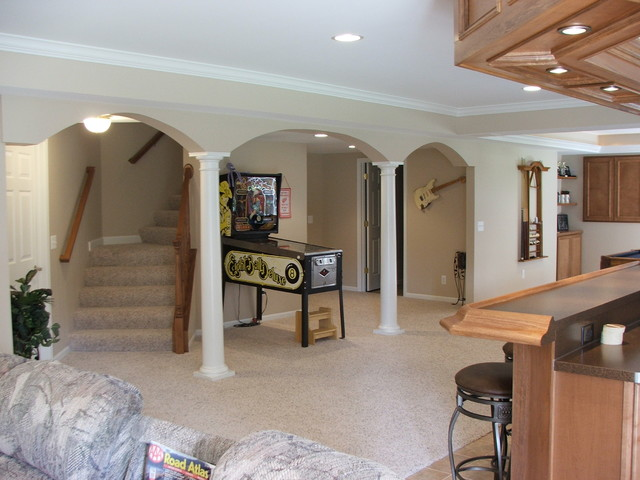After photo of the stair area. traditional-family-room