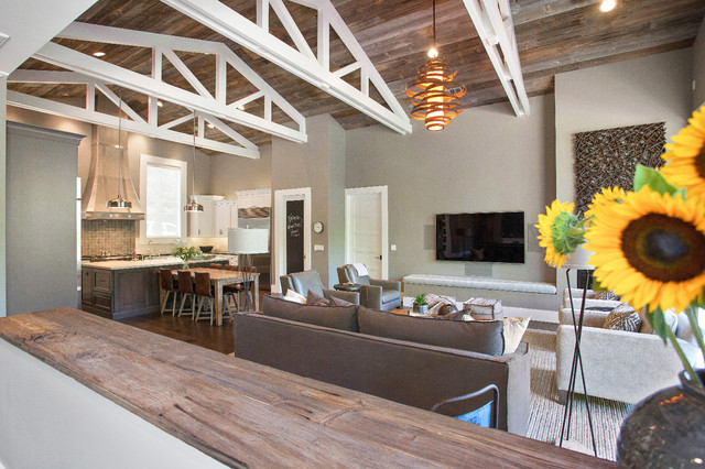 farmhouse full service design firm open concept living room and - Farmhouse Great Room Plans