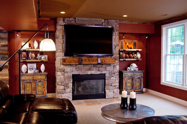 Man Cave With Fireplace : All things texan mancave eclectic basement birmingham by