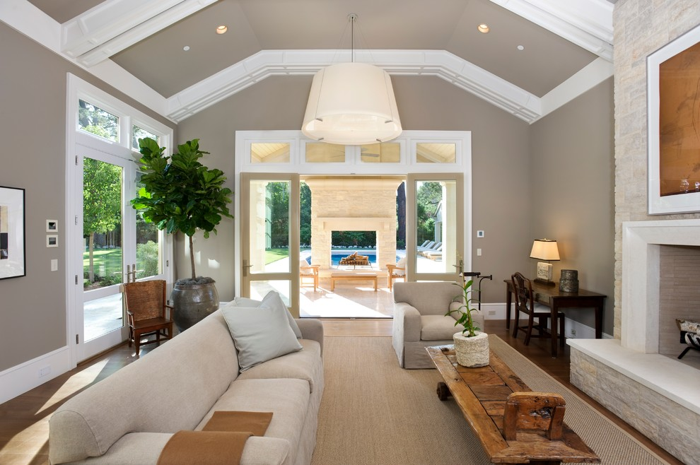 Family room - contemporary family room idea in San Francisco with a standard fireplace