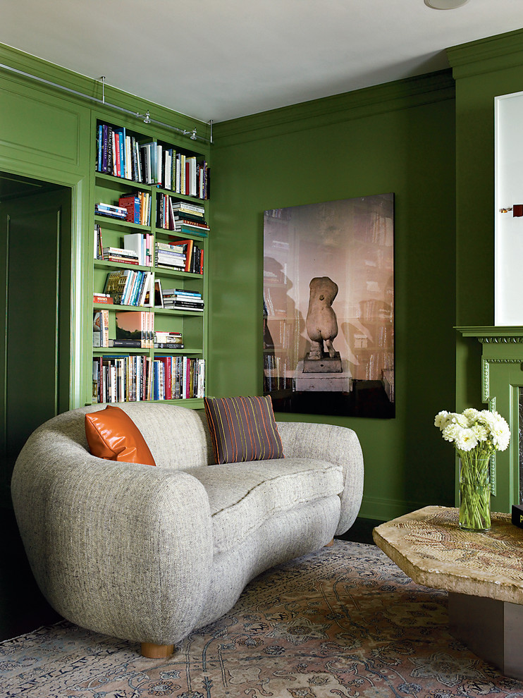 Family room library - eclectic family room library idea in Chicago