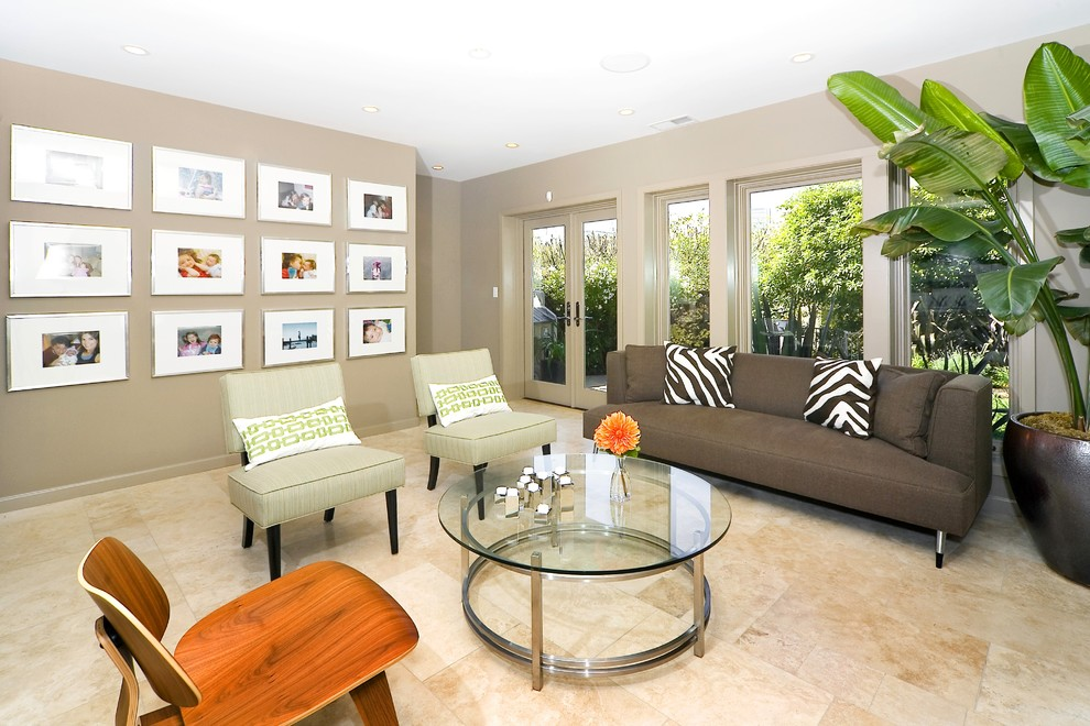 Trendy family room photo in San Francisco with beige walls