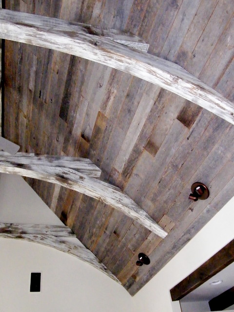 Antique Gray Oak Barn Boards Applied as Ceiling Paneling traditional family room