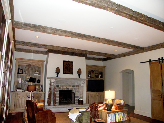 Antique Hand Hewn Beams Family Room Birmingham By
