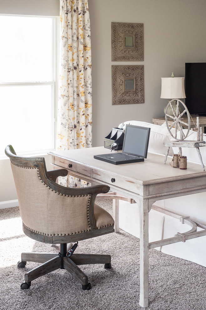 Inspiration for a large shabby-chic style open concept carpeted family room remodel in Jacksonville with gray walls and a tv stand