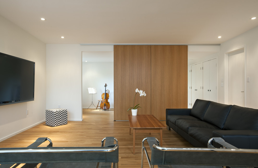 Example of a minimalist medium tone wood floor family room design in DC Metro with white walls and a wall-mounted tv