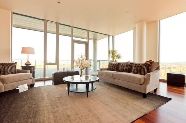 armenian rugs in a modern portland condo contemporary
