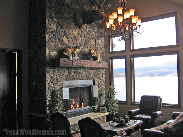 faux wood ceiling beams ideas - Artificial Timber Fireplace Mantel Shelf Rustic Family