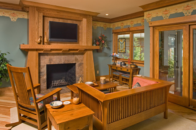Arts crafts 1 craftsman family room chicago by - Arts and crafts home interior design ...
