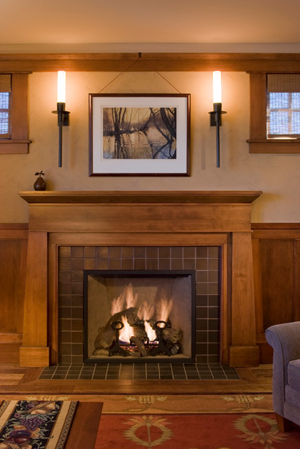Arts and crafts bungalow for Craftsman fireplaces photos