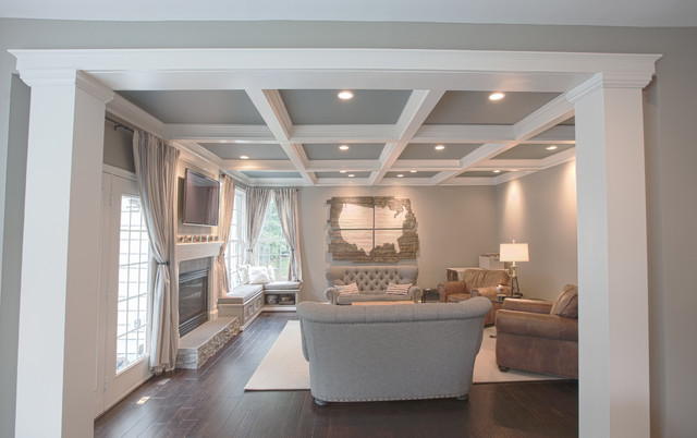 Ashburn kitchen family room farmhouse family room for Living room with 9 foot ceilings