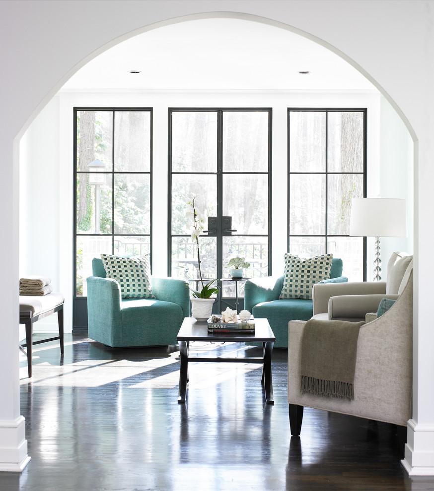 Family room - contemporary dark wood floor family room idea in Atlanta with white walls