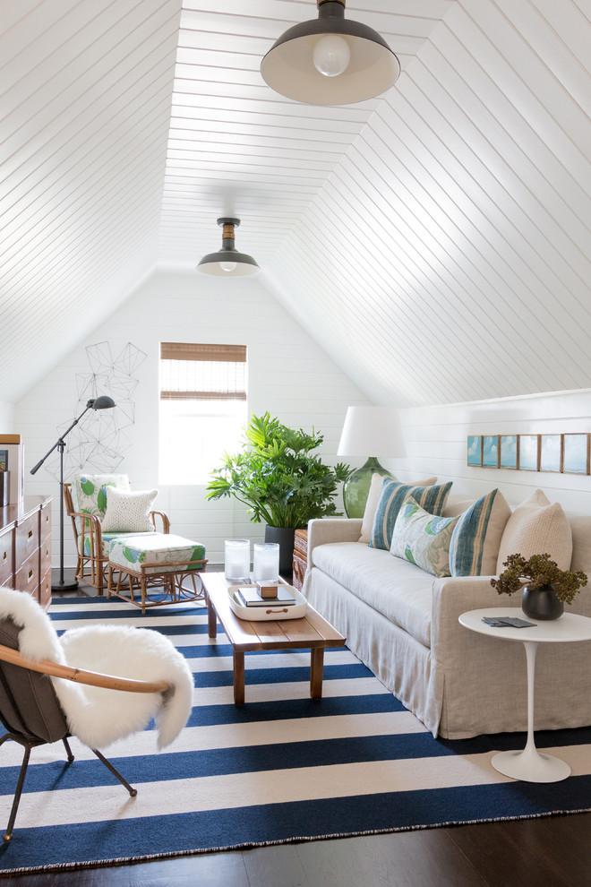 Family room - mid-sized coastal dark wood floor family room idea in New York with white walls
