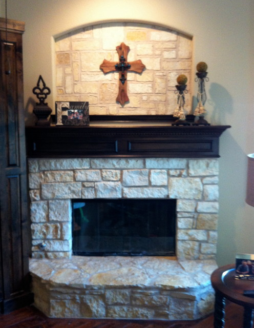 Austin Stone Fire Place traditional-family-room