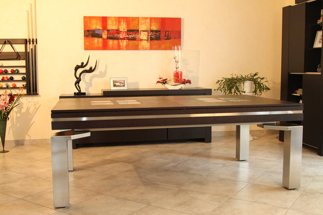 Baker Stainless Dining Pool Table Dallas Texas Contemporary Family Room