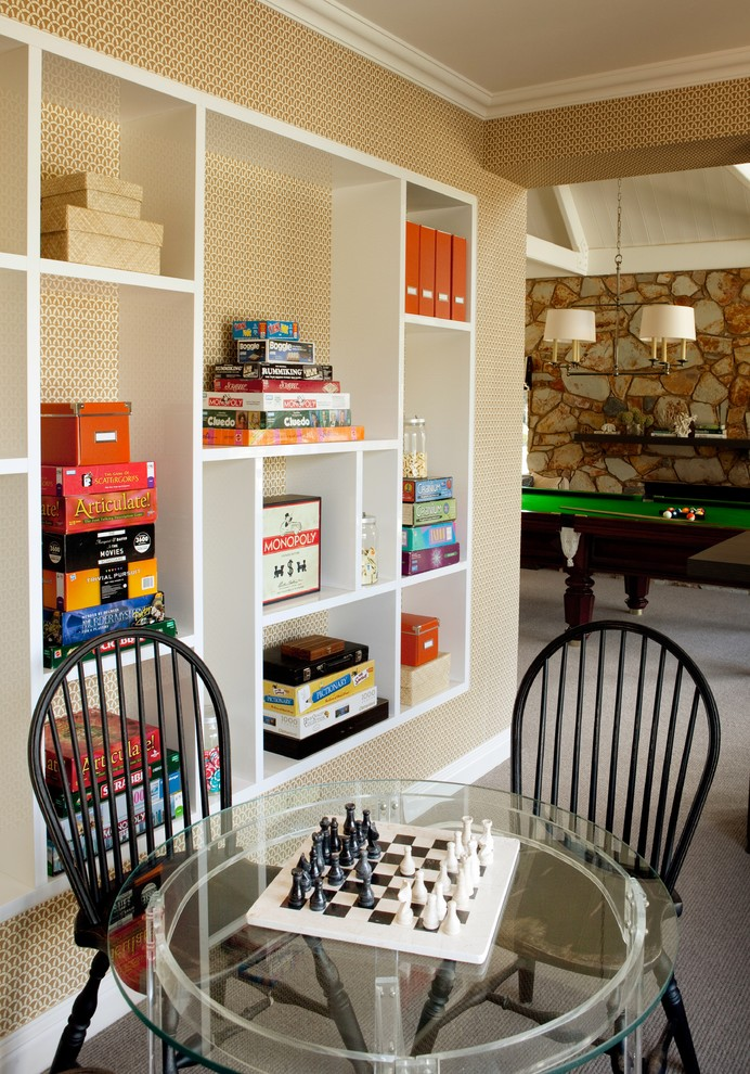 Example of a mid-sized classic open concept carpeted game room design in Melbourne