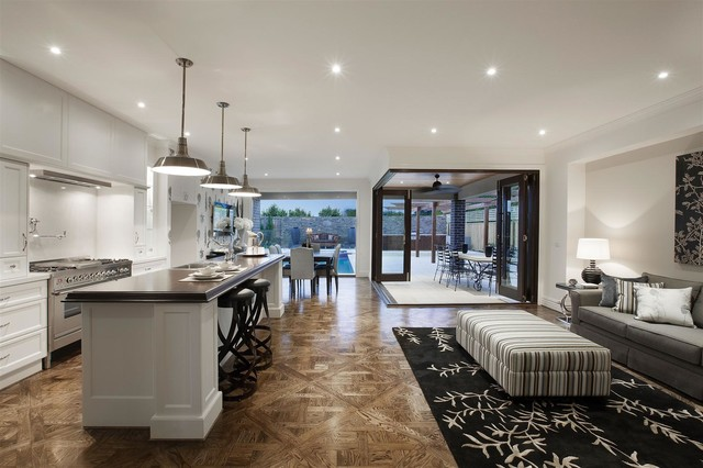 Balwyn North Open Plan Kitchen Dining Family With View To The Pool