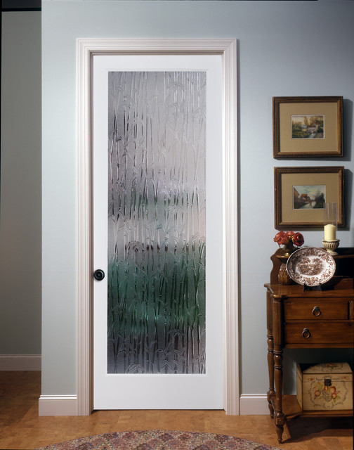 Bamboo Decorative Glass Interior Door Family Room