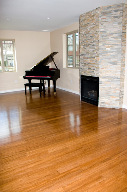 Bamboo-installed, sanded and finished contemporary-family-room