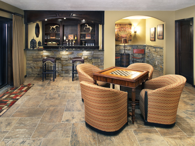 Bar game room traditional family room for Living room ideas quiz
