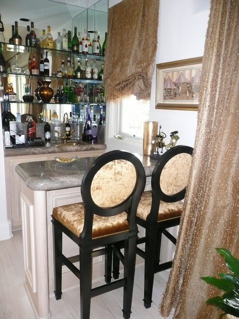 Bar Stools and Window Treatments eclectic-family-room