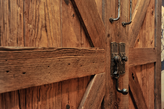 Barn doors, hand forged hardware - Rustic - Family Room ...