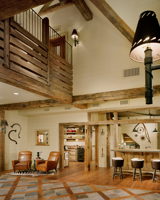 attic rehab ideas - Barn Restoration Rustic Family Room Bridgeport by