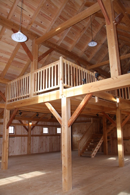 Barn style loft farmhouse family room portland maine for How to build a garage loft