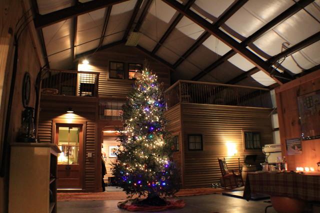 Barndominium Christmas Industrial Family Room Burlington on Morton Building Home Floor Plans