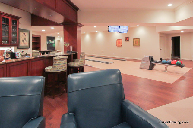 basement bowling alley in northern virginia contemporary