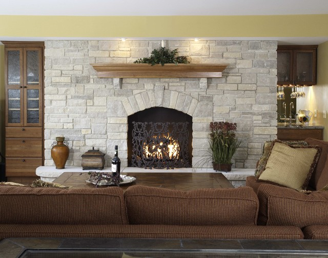 Basement Family Room Fireplace Built Ins Traditional