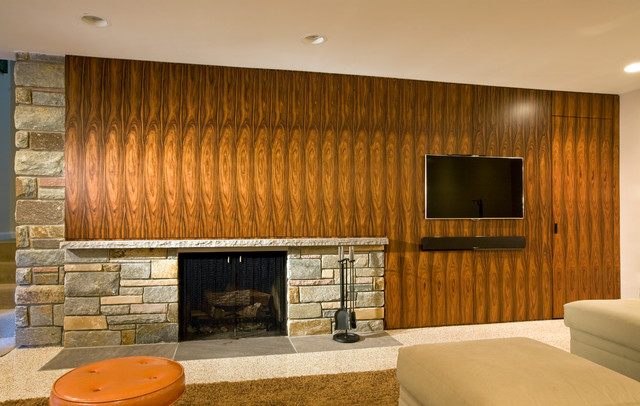 Basement Fireplace And Media Wall Midcentury Family
