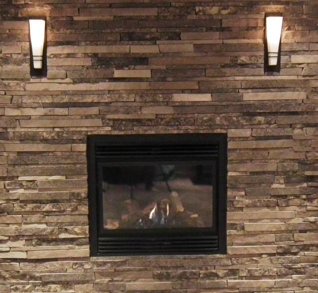 basement fireplace design renovation aurora estate home contemporary