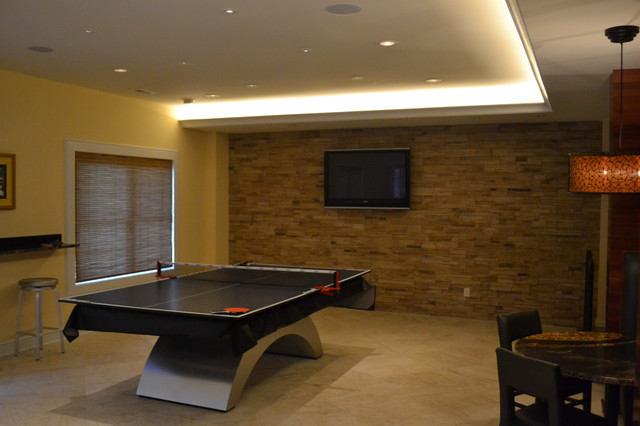 Basement man cave contemporary family room st louis by christopher d marshall - Small space man cave model ...