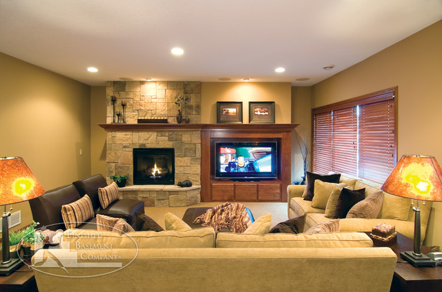 Basement tv fireplace traditional family room for Tv room ideas for families