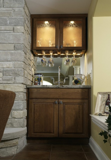 Basement Wet Bar Traditional Family Room Chicago