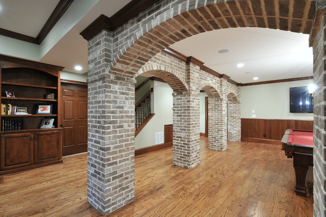 Basement with Brick Arches - Traditional - Family Room - atlanta - by ...