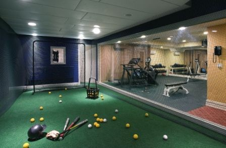 batting cage modern family room