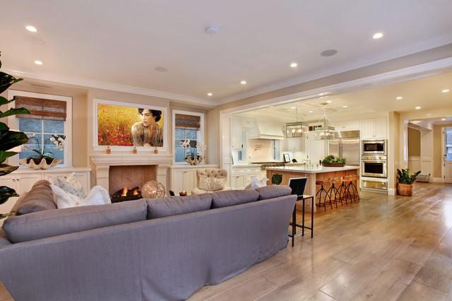 Example Of A Coastal Open Concept Medium Tone Wood Floor And Beige Floor Family  Room Design Part 75