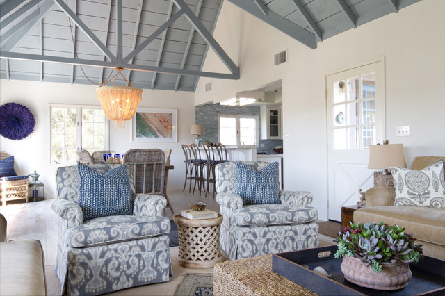Beach cottage in oceanside beach style family room for Beach cottage interior designs