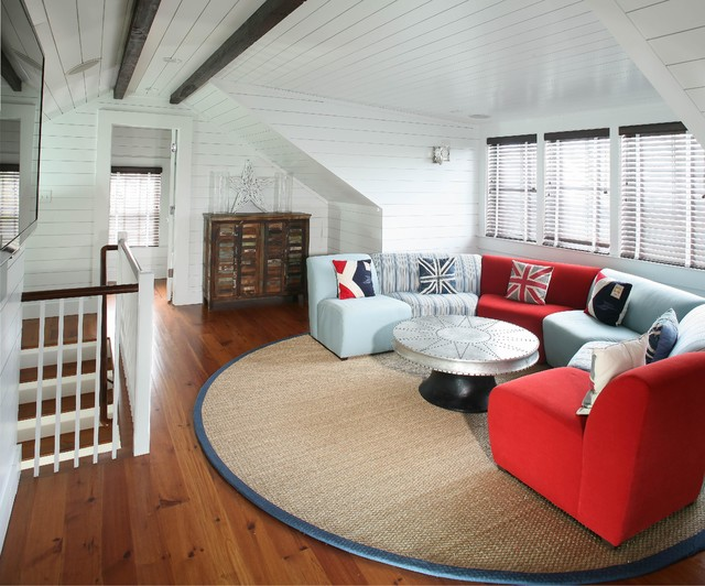 Beach Cottage Upstair Family Room beach-style-home-theater
