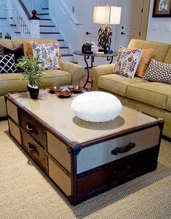 Leather trunk as coffee table
