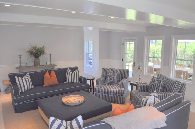 Inspiration for a beach style family room remodel in Boston